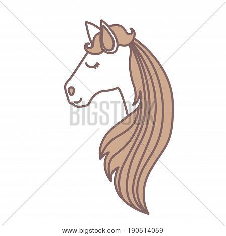 light colors of face side view of female horse with long striped mane vector illustration