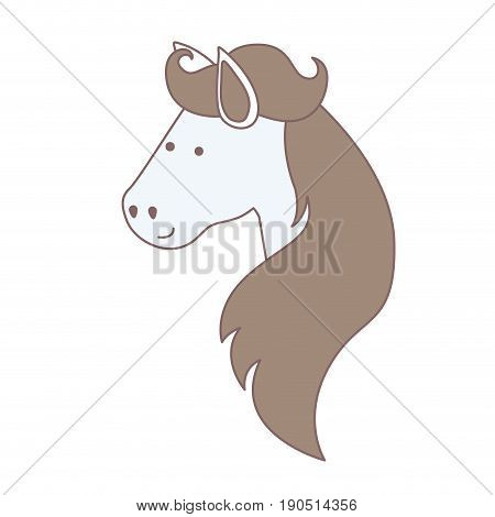 light colors of face side view of horse with long mane vector illustration