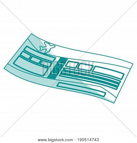 Flat line monocromatic airplane ticket over white background vector illustration