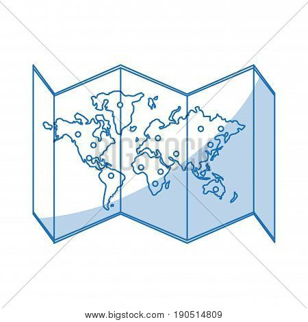 Flat line monocromatic world map over white background vector illustration