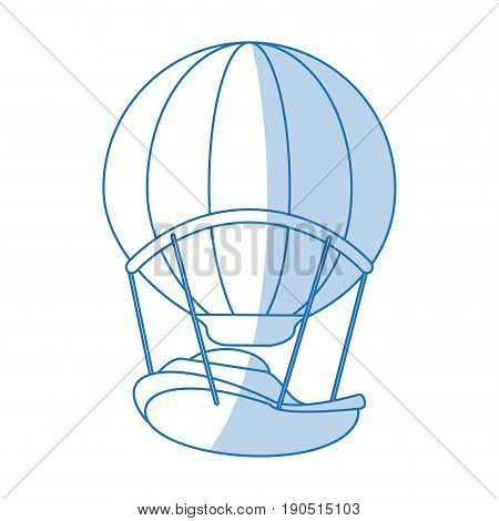 Flat line monocromatic hot air ballon over white background vector illustration