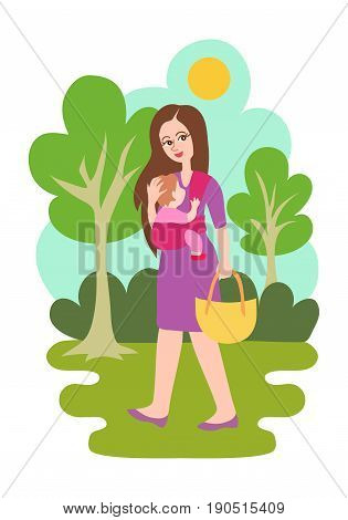 Mother with a child walking in a park on a sunny day. Bright modern trendy flat cartoon style illustration isolated on white background. Woman carrying her child in a baby sling. Outdoors babywearing.