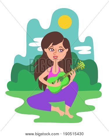 Beautiful long-haired girl sits on the grass in a park on a sunny day plays green ukulele and sings. Bright modern trendy flat cartoon style illustration. Happy smiling woman outdoors with a guitar.
