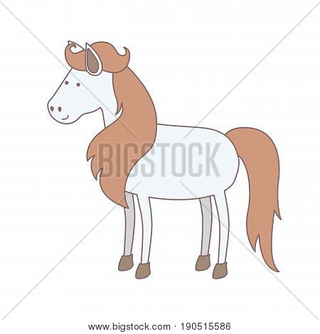 light colors of white horse with mane and tail brown vector illustration