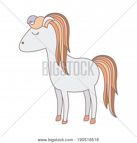 light colors of cartoon female horse with colorful mane and tail vector illustration