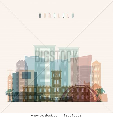 Honolulu state Hawaii skyline detailed silhouette. Transparent style. Trendy vector illustration.