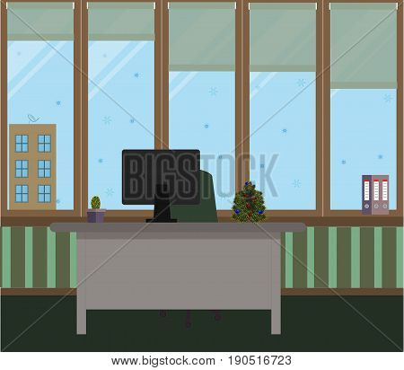 The New Year office on a green background. Vector illustration. Table, chair, folders, cactus in a pot, large Windows, protective blinds, Christmas tree with red and blue balls
