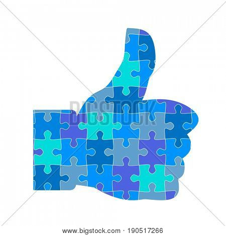 Thumb up in jigsaw puzzle