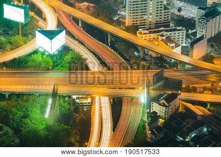 Top view Highway interchanged long shot night view
