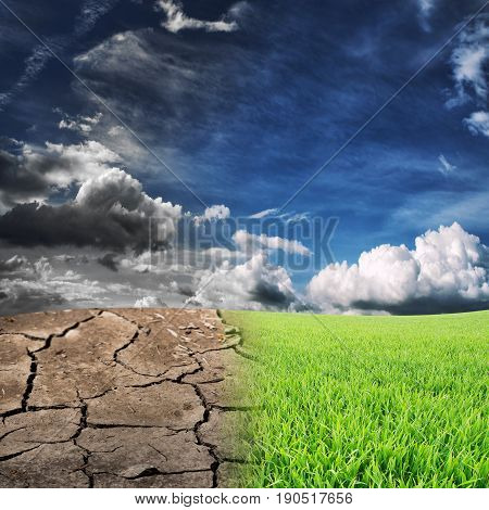 dry and wet landscape. Ecology concept of nature