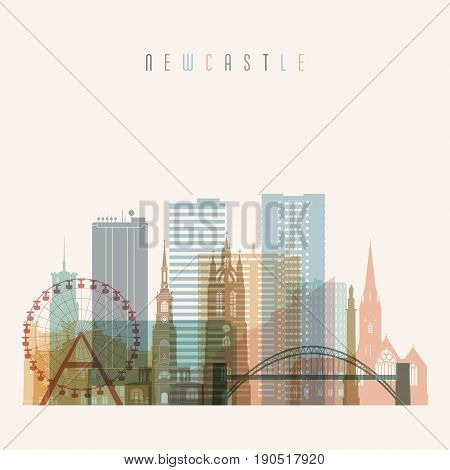 Newcastle skyline detailed silhouette. Transparent style. Trendy vector illustration.