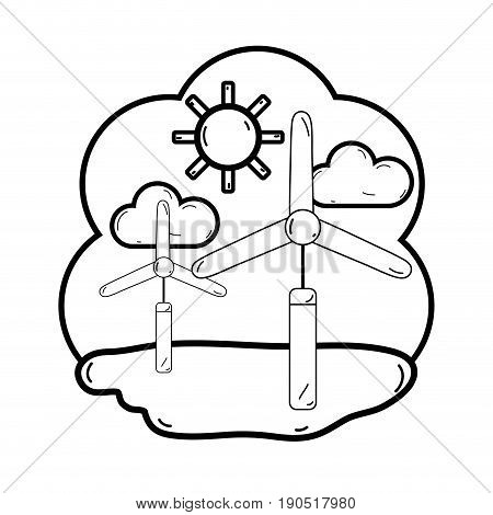 line windpower industries to healp the environment vector illustration