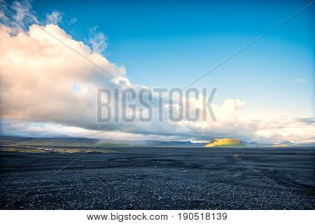 rocks and black sand on the south coast of Iceland
