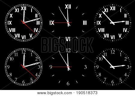Set watch isolated on a dark background. Vector illustration.