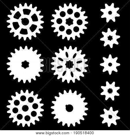 Set of gears on a dark background. Vector illustration.