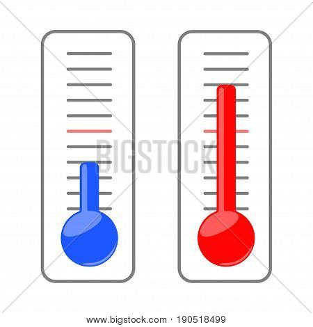 Two thermometers show the cold and heat.