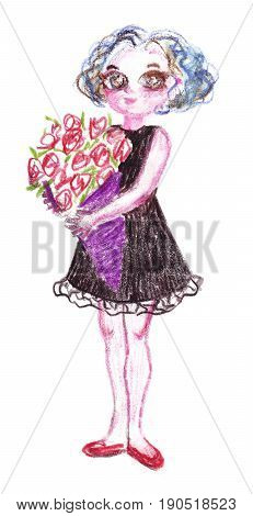 Hand-drawn illustration of standing young woman with flowers.Pencil drawing of girl with short curly blue hair wearing little black lacy dress holding a big bouquet of red roses packed in violet paper