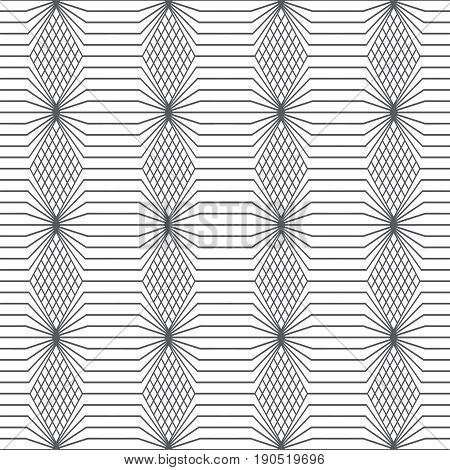 Vector seamless pattern. Infinitely repeating modern geometrical texture consisting of thin lines which form hexagonal linear grid with striped hexagons rhombuses.