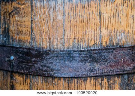 Close Up Of Metal Hoop On Bourbon Barrel