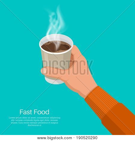 The hand holds a paper glass with coffee.Fast food.Design elements in 3D style.Isometry.Vector illustration in flat style.Break for coffee.