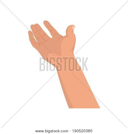 The hand extended forward.Gesture by a hand on the isolated white background.Design element template.Vector illustration in flat style.