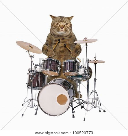 The cat is playing play on the drums. White background.