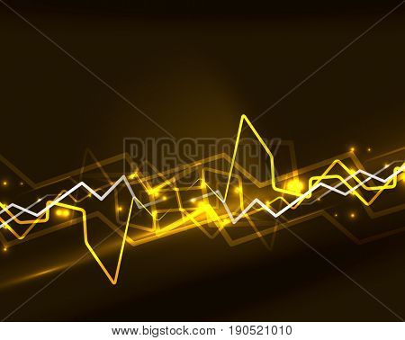 Neon yellow lightning background template