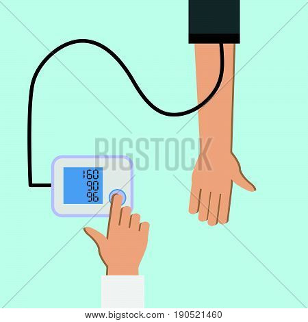 Patient checking arterial blood pressure. High blood pressure concept illustration. Measuring monitoring health. Diagnose hypertension heart. Digital device tonometer. Medical equipment.