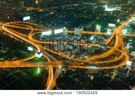 Night aeria view Highway overpass intersection city of Bangkok Thailand