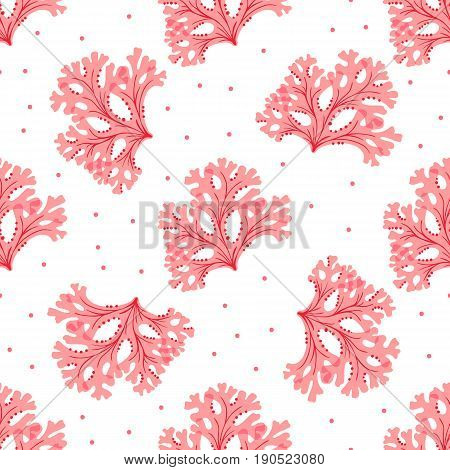 Seamless underwater pattern with red seaweed. Vector wallpaper.