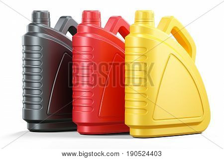 Colored Plastic Cans Of Motor Oils