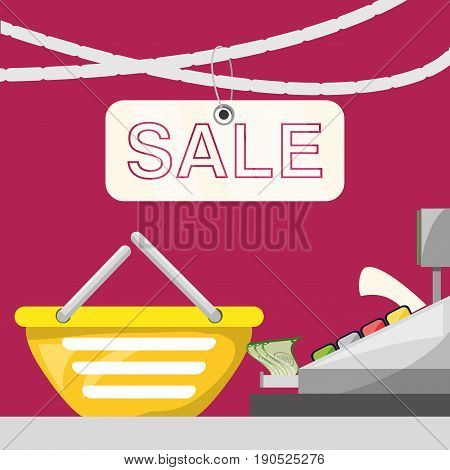 cash register with shopping basket concept vector illustration