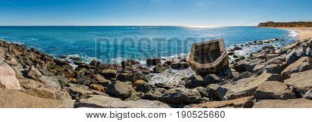Panoramic view of Montauk Point State Park beach and the Atlantic Ocean. Long Island New York State