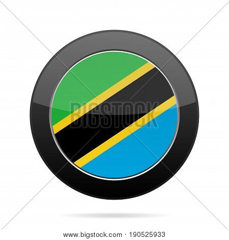 National flag of Tanzania. Shiny black round button with shadow.
