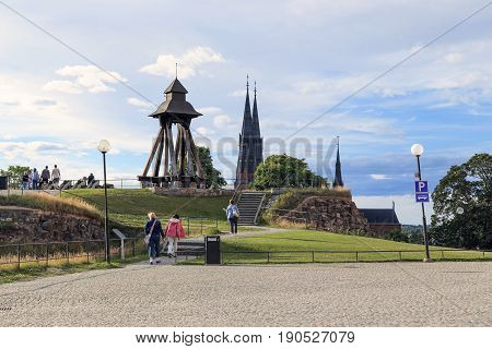 UPPSALA, SWEDEN - JULY 7, 2016: This is one of the bastions of Uppsala Castle with the bell Gunillaklockan which from the Middle Ages notifies about the change of day and night.