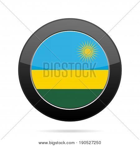 National flag of Rwanda. Shiny black round button with shadow.
