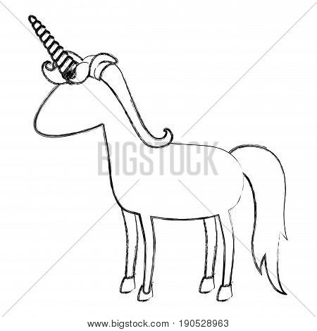 monochrome blurred silhouette of cartoon faceless unicorn standing with mane vector illustration