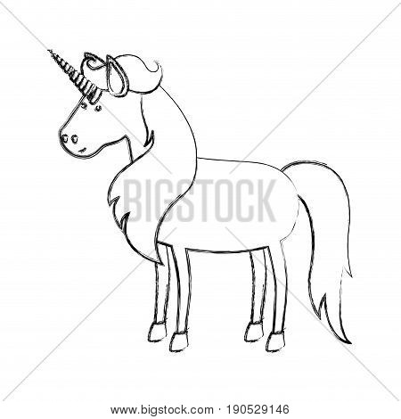 monochrome blurred silhouette of cartoon unicorn standing with long mane vector illustration