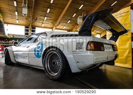 PAAREN IM GLIEN GERMANY - JUNE 03 2017: Sports car BMW M1 (E26). Rear view. Exhibition
