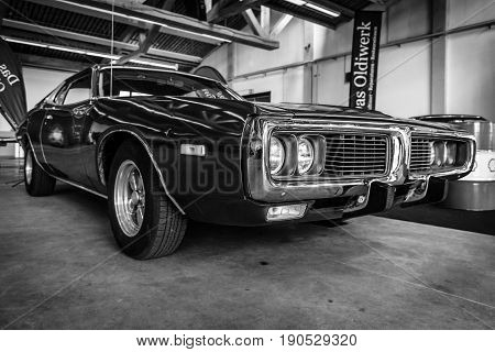 PAAREN IM GLIEN GERMANY - JUNE 03 2017: Mid-size car Dodge Charger (B-body) 1971. Black and white. Exhibition
