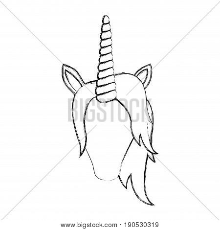 monochrome blurred silhouette of front face of faceless unicorn with mane vector illustration