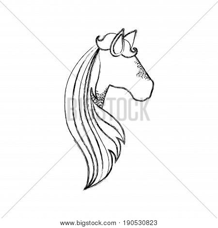 monochrome blurred silhouette of faceless side view of female horse with long striped mane vector illustration