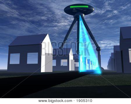 Homes In Street With Alien Tripod