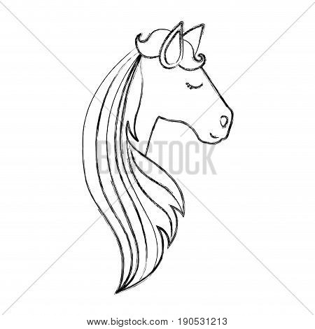monochrome blurred silhouette of face side view of female horse with long striped mane vector illustration