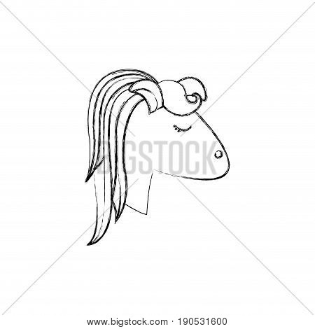 monochrome blurred silhouette of face side view of female horse with striped mane vector illustration