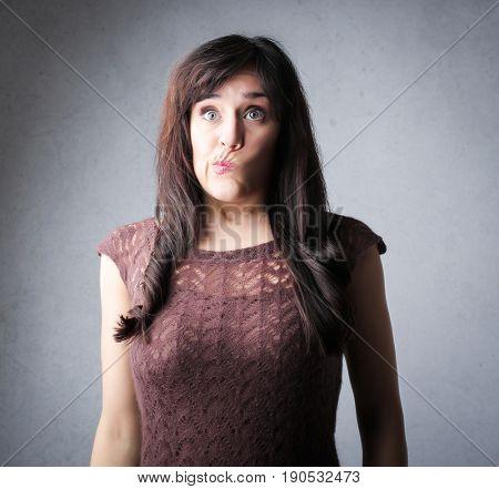 Doubtful woman thinking