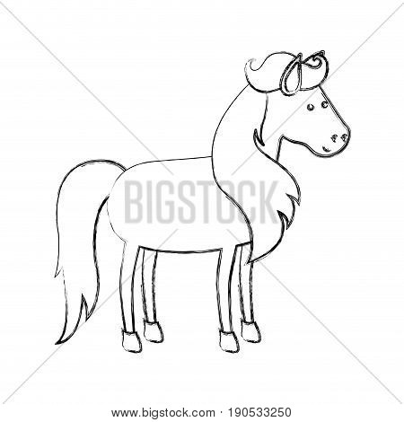 monochrome blurred silhouette of horse with mane and tail vector illustration