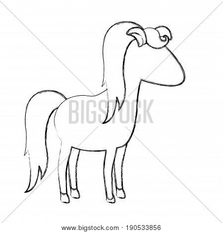monochrome blurred silhouette of cartoon faceless female horse with mane and tail vector illustration
