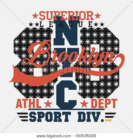 t-shirt New York Brooklyn, Sport wear, sport typography emblem, t-shirt stamp graphics, vintage tee print, athletic apparel design