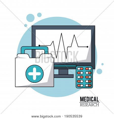 color poster medical research with icons pulse monitoring and first aid kit and pills vector illustration